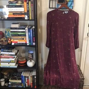Maroon Floral Print 3/4 Sleeve Maxi Dress